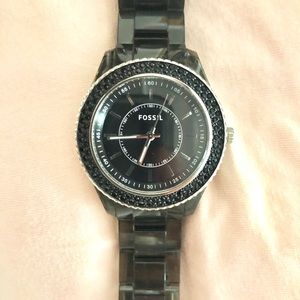 Stainless steel black fossil watch